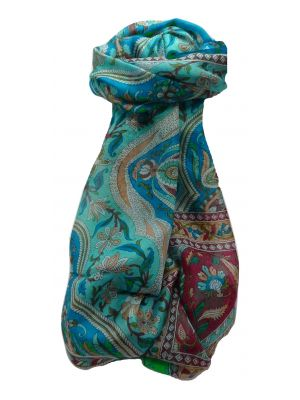 Mulberry Silk Traditional Long Scarf Sakhar Aqua by Pashmina & Silk