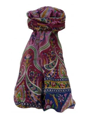Mulberry Silk Traditional Long Scarf Sakhar Wine by Pashmina & Silk