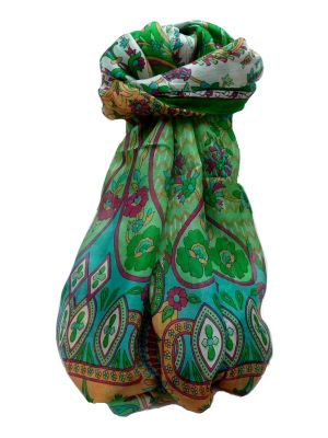 Mulberry Silk Traditional Long Scarf Shalmali Emerald by Pashmina & Silk