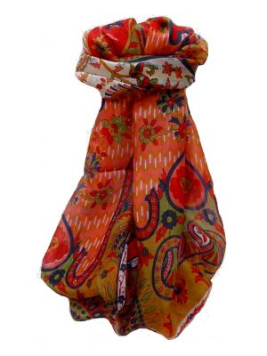 Mulberry Silk Traditional Long Scarf Shalmali Scarlet by Pashmina & Silk