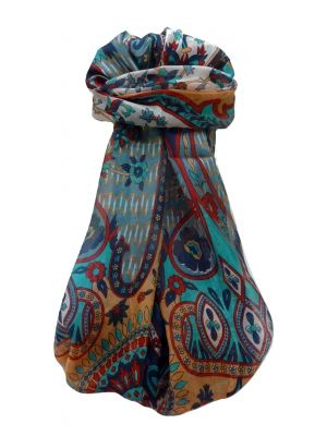 Mulberry Silk Traditional Long Scarf Shalmali Navy by Pashmina & Silk