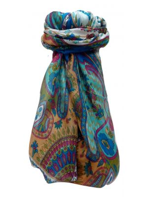 Mulberry Silk Traditional Long Scarf Shalmali Aqua by Pashmina & Silk