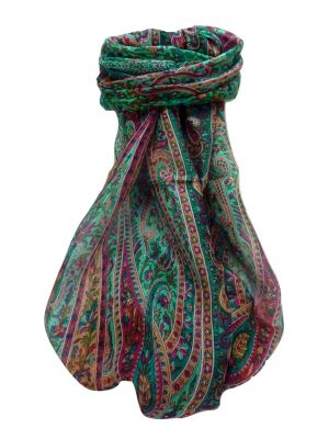 Mulberry Silk Traditional Long Scarf Shreya Teal by Pashmina & Silk