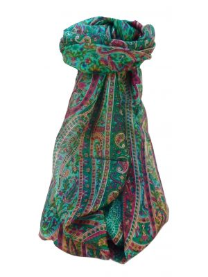 Mulberry Silk Traditional Long Scarf Shreya Emerald by Pashmina & Silk