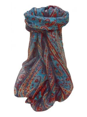 Mulberry Silk Traditional Long Scarf Shreya Navy by Pashmina & Silk