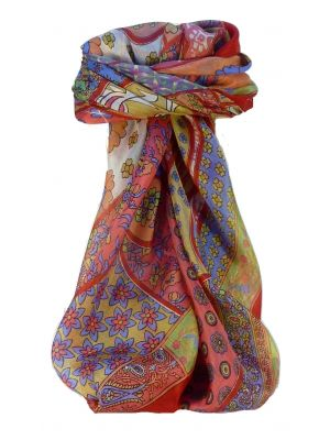 Mulberry Silk Traditional Square Scarf Qia Scarlet by Pashmina & Silk