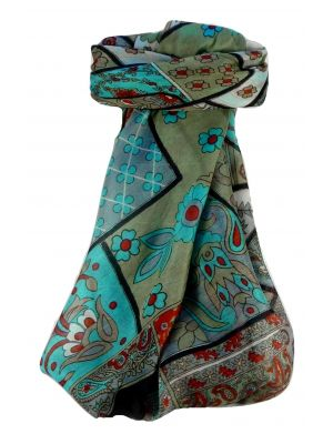Mulberry Silk Traditional Square Scarf Qia Black by Pashmina & Silk