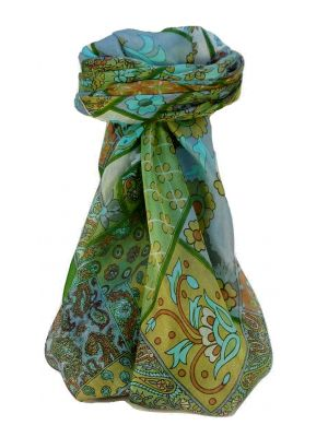 Mulberry Silk Traditional Square Scarf Qia Sage by Pashmina & Silk