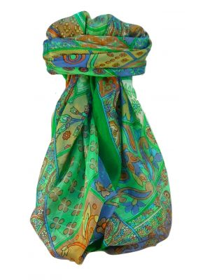 Mulberry Silk Traditional Square Scarf Qia Emerald by Pashmina & Silk