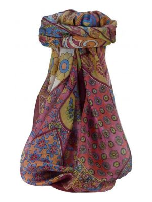 Mulberry Silk Traditional Square Scarf Qia Wine by Pashmina & Silk