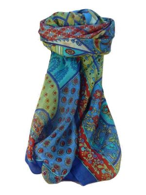 Mulberry Silk Traditional Square Scarf Qia Blue by Pashmina & Silk