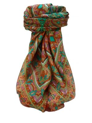 Mulberry Silk Traditional Square Scarf Quira Terracotta by Pashmina & Silk