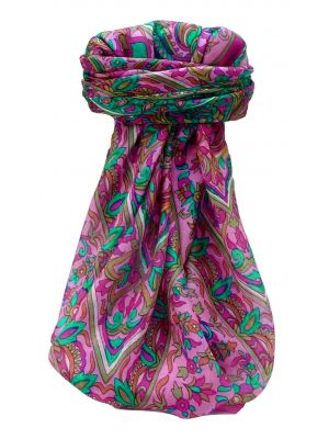 Mulberry Silk Traditional Square Scarf Quira Cerise by Pashmina & Silk