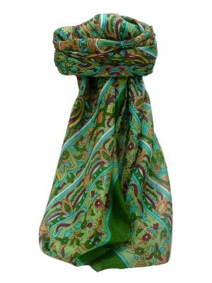 Mulberry Silk Traditional Square Scarf Quira Sage by Pashmina & Silk