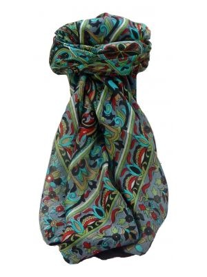 Mulberry Silk Traditional Square Scarf Quira Black by Pashmina & Silk