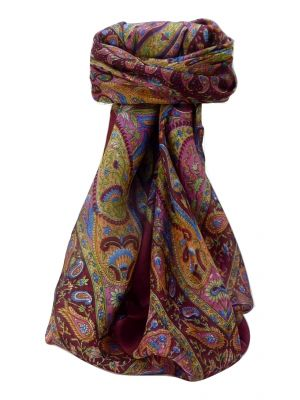 Mulberry Silk Traditional Square Scarf Zoi Wine by Pashmina & Silk