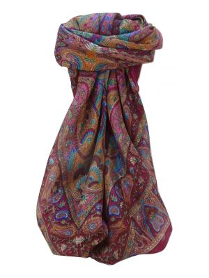 Mulberry Silk Traditional Square Scarf Zoi Violet by Pashmina & Silk