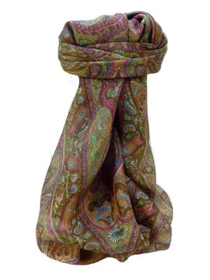 Mulberry Silk Traditional Square Scarf Zoi Chestnut by Pashmina & Silk