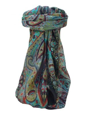 Mulberry Silk Traditional Square Scarf Zoi Black by Pashmina & Silk