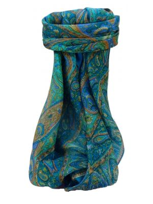 Mulberry Silk Traditional Square Scarf Zoi Aqua by Pashmina & Silk