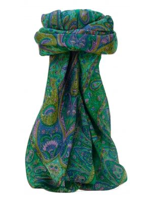 Mulberry Silk Traditional Square Scarf Zoi Emerald by Pashmina & Silk