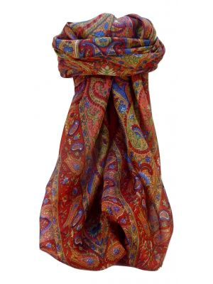 Mulberry Silk Traditional Square Scarf Zoi Scarlet by Pashmina & Silk