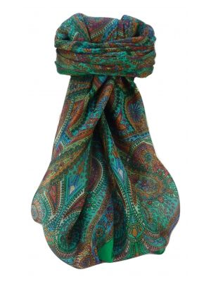 Mulberry Silk Traditional Square Scarf Zee Emerald by Pashmina & Silk