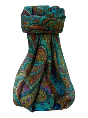 Mulberry Silk Traditional Square Scarf Zee Aqua by Pashmina & Silk