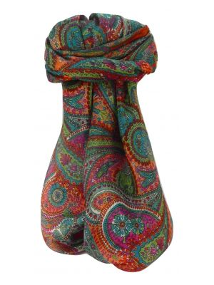 Mulberry Silk Traditional Square Scarf Zee Terracotta by Pashmina & Silk