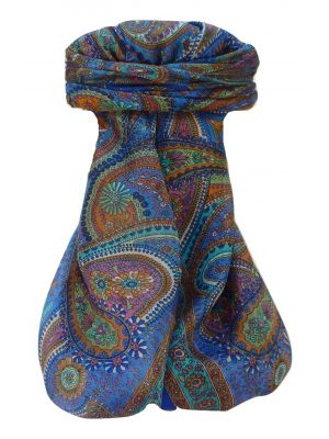 Mulberry Silk Traditional Square Scarf Zee Blue by Pashmina & Silk