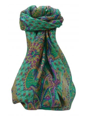 Mulberry Silk Traditional Square Scarf Osh Emerald by Pashmina & Silk