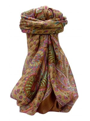 Mulberry Silk Traditional Square Scarf Osh Chestnut by Pashmina & Silk
