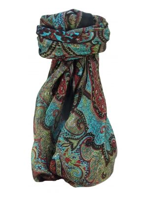 Mulberry Silk Traditional Square Scarf Zia Black by Pashmina & Silk