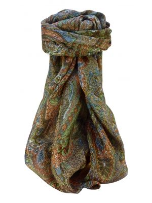 Mulberry Silk Traditional Square Scarf Zia Chestnut by Pashmina & Silk