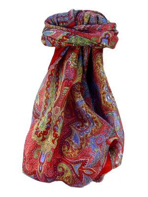 Mulberry Silk Traditional Square Scarf Zia Scarlet by Pashmina & Silk