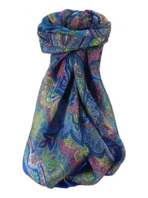 Mulberry Silk Traditional Square Scarf Zia Blue by Pashmina & Silk