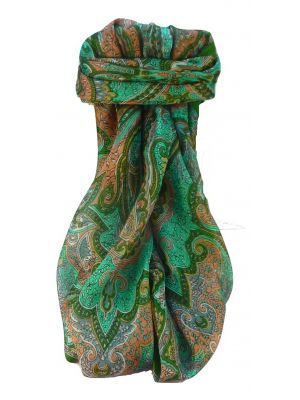 Mulberry Silk Traditional Square Scarf Zia Sage by Pashmina & Silk