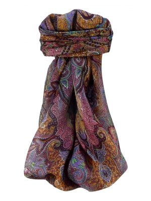 Mulberry Silk Traditional Square Scarf Zia Wine by Pashmina & Silk