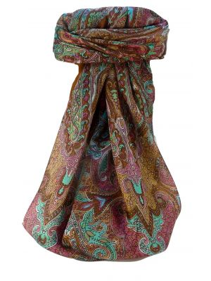Mulberry Silk Traditional Square Scarf Zia Copper by Pashmina & Silk