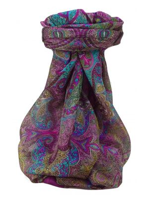 Mulberry Silk Traditional Square Scarf Zia Violet by Pashmina & Silk