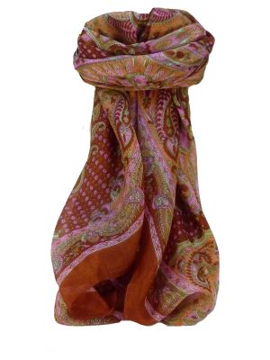 Mulberry Silk Traditional Square Scarf Omana Terracotta by Pashmina & Silk