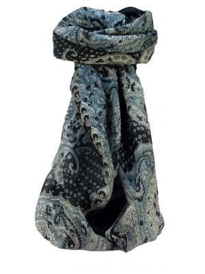 Mulberry Silk Traditional Square Scarf Omana Black & White by Pashmina & Silk