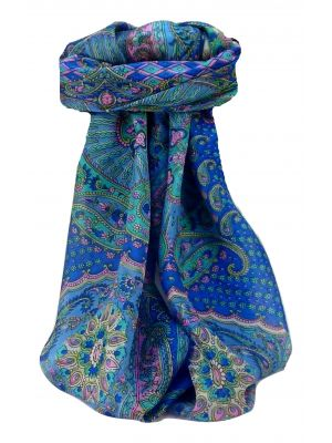 Mulberry Silk Traditional Square Scarf Omana Blue by Pashmina & Silk