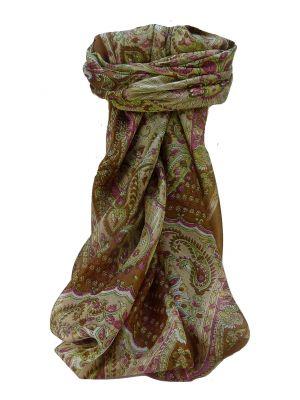 Mulberry Silk Traditional Square Scarf Omana Cestnut by Pashmina & Silk