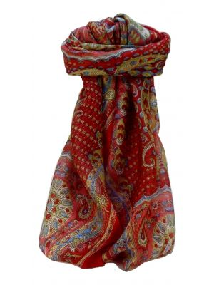 Mulberry Silk Traditional Square Scarf Omana Scarlet by Pashmina & Silk