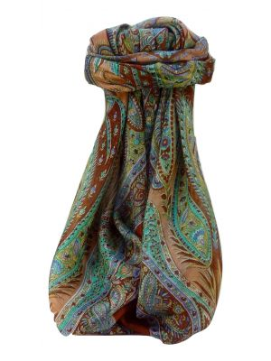 Mulberry Silk Traditional Square Scarf Zayd Copper by Pashmina & Silk