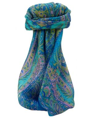 Mulberry Silk Traditional Square Scarf Zayd Aqua by Pashmina & Silk