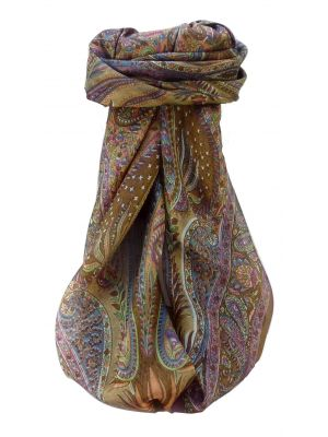 Mulberry Silk Traditional Square Scarf Zayd Chestnut by Pashmina & Silk