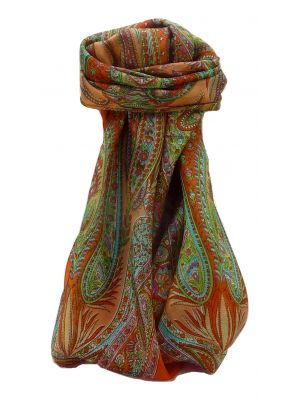 Mulberry Silk Traditional Square Scarf Zayd Terracotta by Pashmina & Silk
