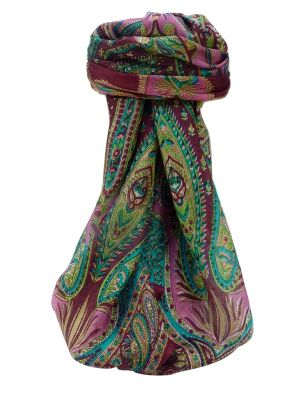 Mulberry Silk Traditional Square Scarf Zayd Wine by Pashmina & Silk